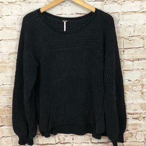 Free People black sweater small balloon sleeve